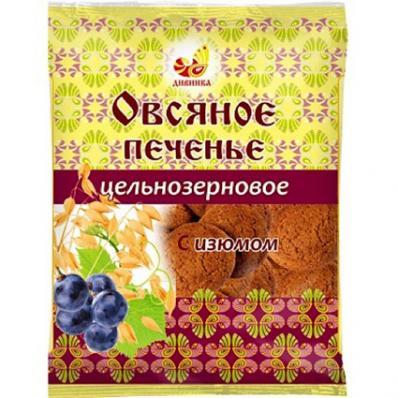 Печенье овсяное цельнозерновое С ИЗЮМОМ 300гр (Дивинка)
