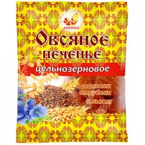 Печенье овсяное цельнозерновое ЛЁН ОТРУБИ 300гр (Дивинка)