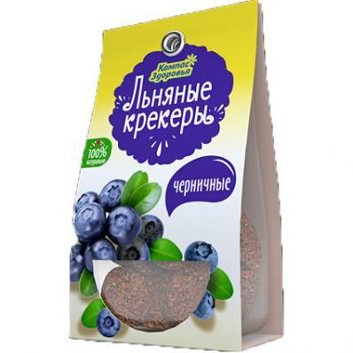 Крекеры льняные ЧЕРНИЧНЫЕ 50гр (Компас здоровья)